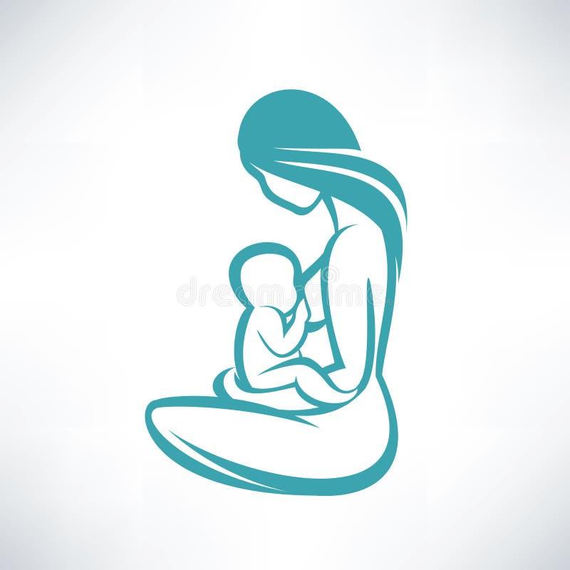 Mãe que amamenta seu bebê ilustração royalty free