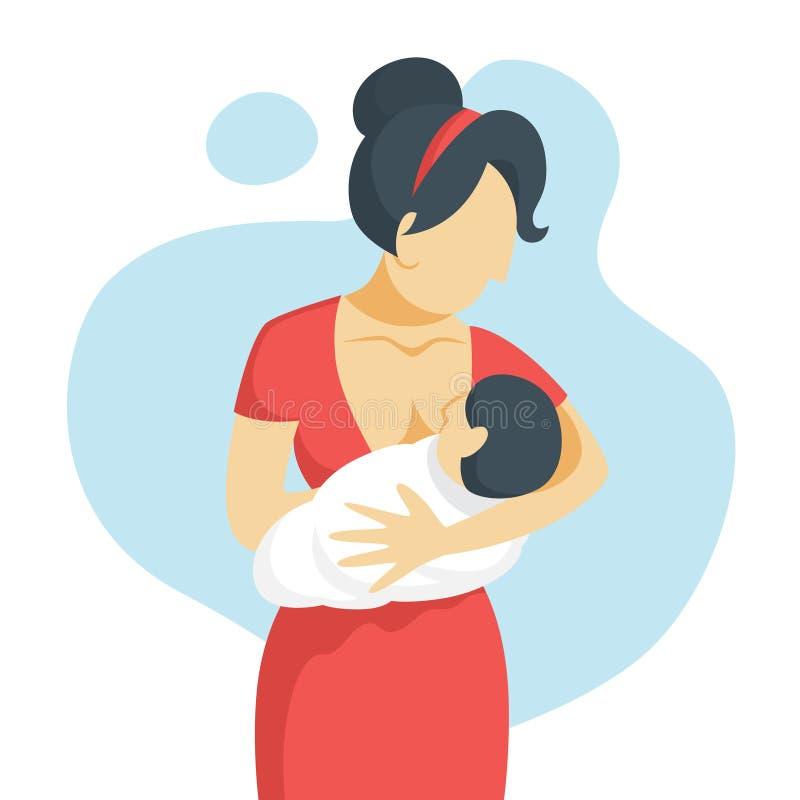 Mãe que amamenta seu bebê recém-nascido Ideia da puericultura ilustração royalty free