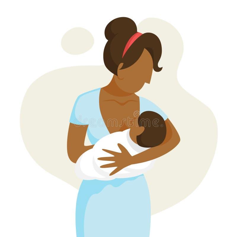 Mãe que amamenta seu bebê recém-nascido Ideia da puericultura ilustração stock
