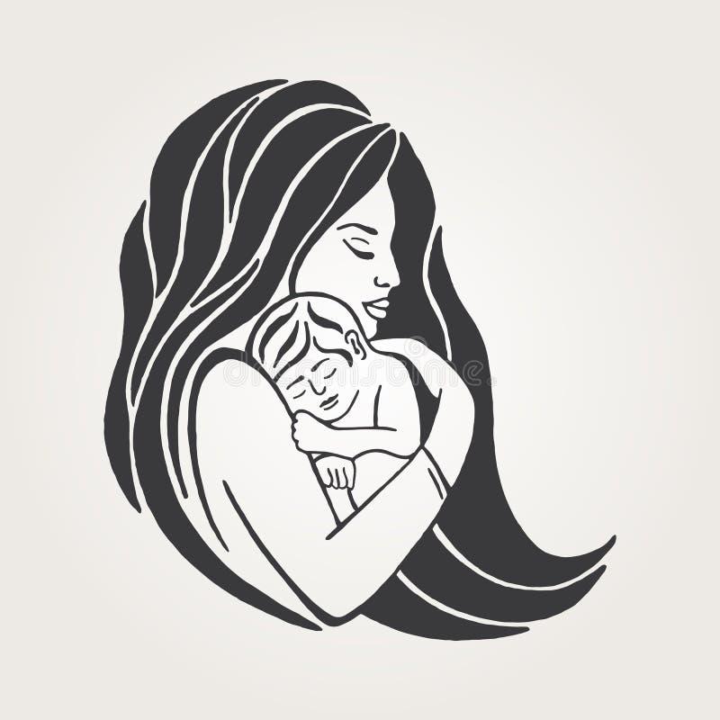 Mãe que amamenta seu símbolo do bebê Emblema da aliança da amamentação, ícone do apoio da mãe da amamentação ilustração royalty free
