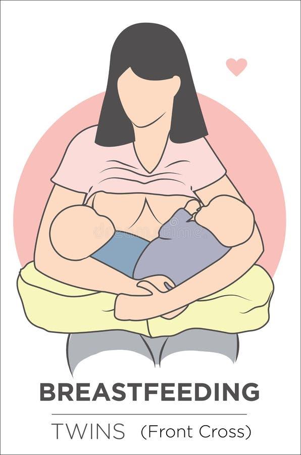 Mãe que amamenta seus gêmeos ilustração royalty free