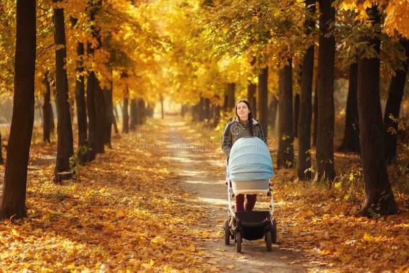 Mãe que anda com carrinho de criança fotos de stock royalty free