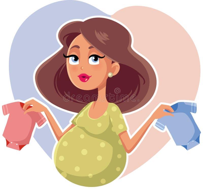 Mãe que guarda desenhos animados do vetor de Onesies do bebê ilustração stock