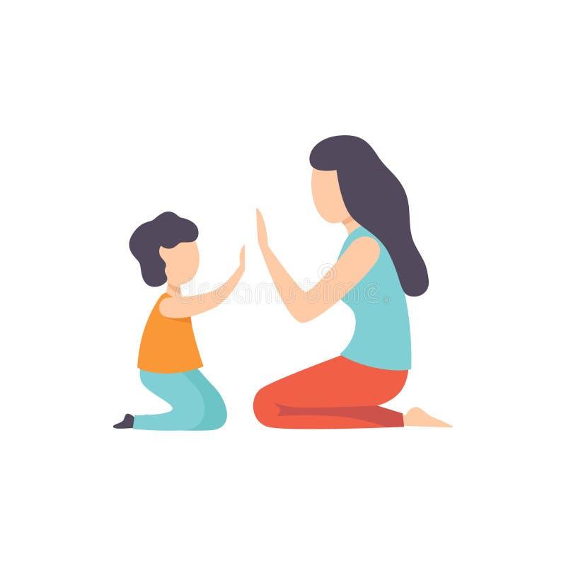 A mãe que jogam Patty Cake com seu filho, a mamã e sua criança que têm o bom tempo vector junto a ilustração em um branco ilustração stock