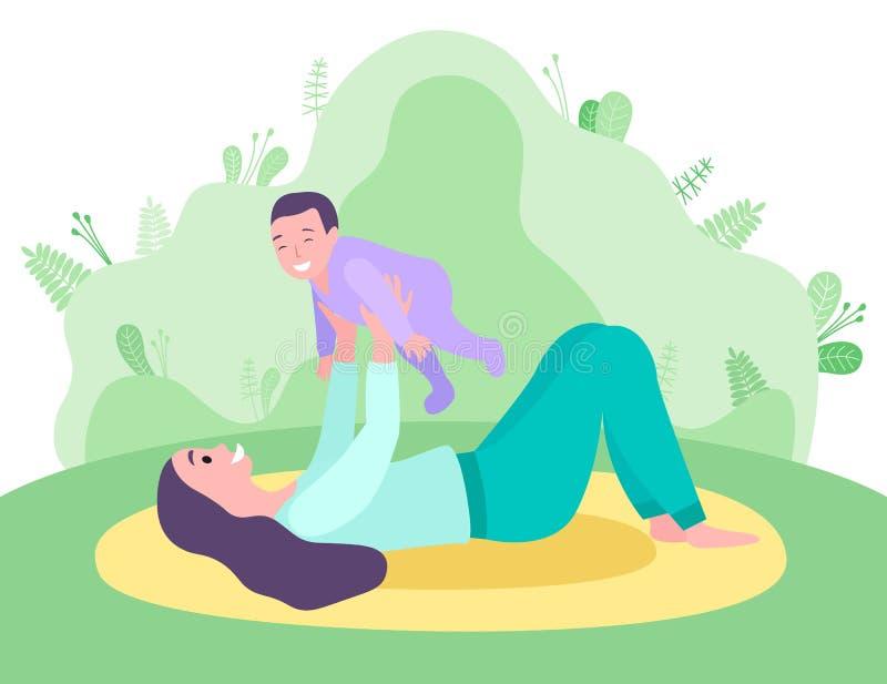 Mãe segurando uma criança deitada no vetor do gramado ilustração royalty free