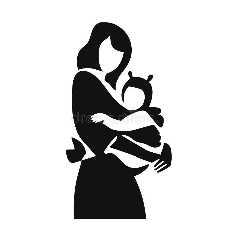 Mãe simples da ilustração do vetor com seu bebê na etiqueta do ícone do estilingue Bebê vestindo no estilingue ilustração stock