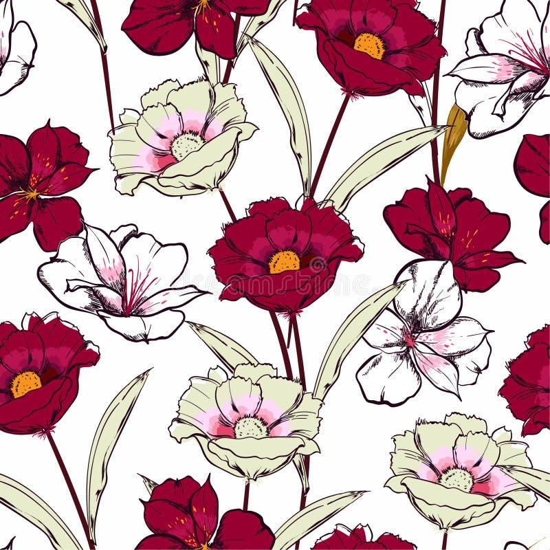 Mão à moda tirada para esboçar flores de florescência no teste padrão sem emenda da repetição floral do jardim no projeto do veto ilustração do vetor