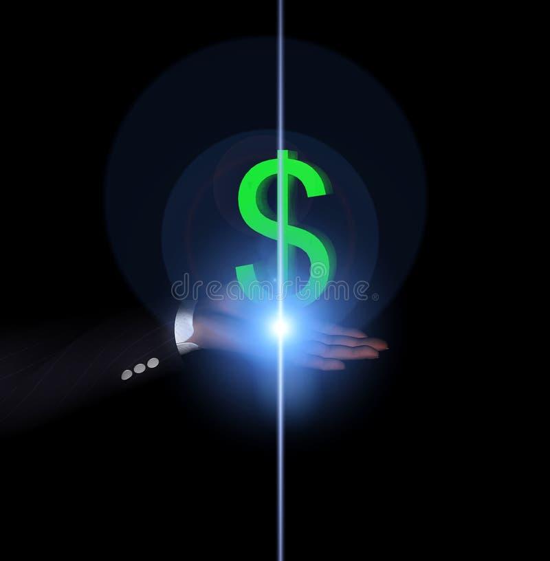 Mão 19 do dólar ilustração do vetor
