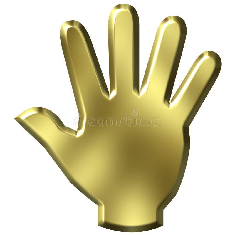 mão 3D dourada ilustração stock