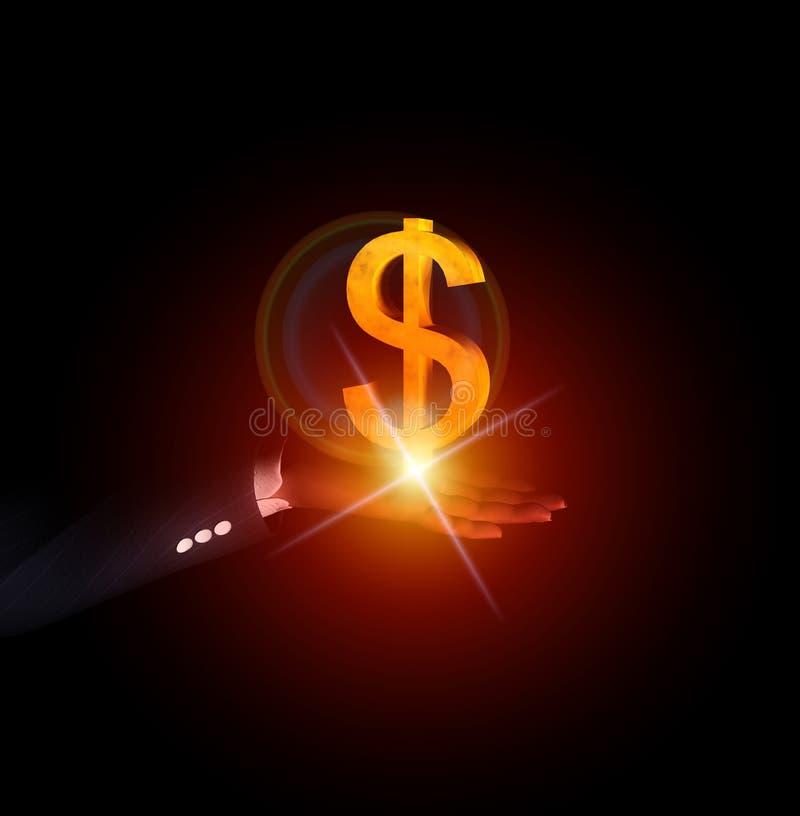 Mão 43 do dólar ilustração royalty free