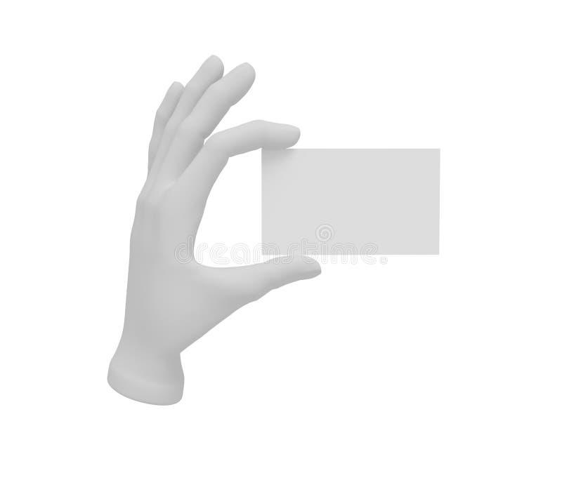 a mão aberta do ser humano 3d branco guarda um cartão Fundo branco ilustração do vetor