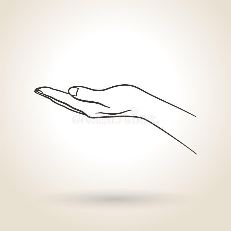 Mão aberta vazia do ícone ilustração royalty free