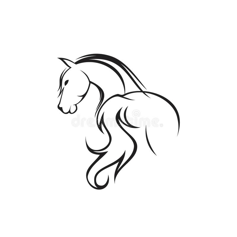 Mão abstrata cavalo tirado da parte traseira da silhueta com a cabeça girada ilustração royalty free