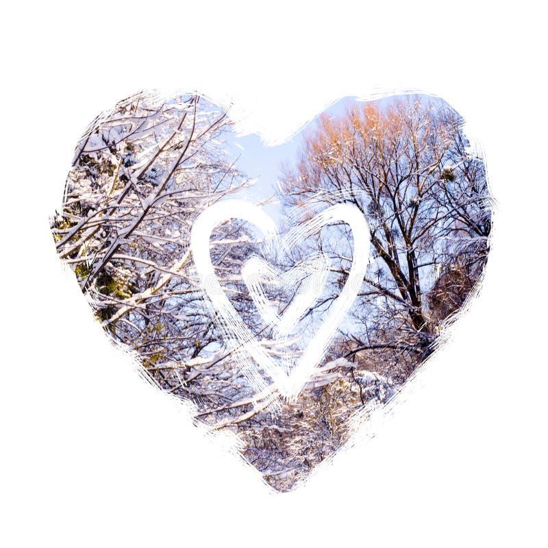 Mão abstrata coração desenhado Fundo do Valentim Projeto do coração do amor Colagem da foto com as silhuetas gráficas das árvores ilustração stock