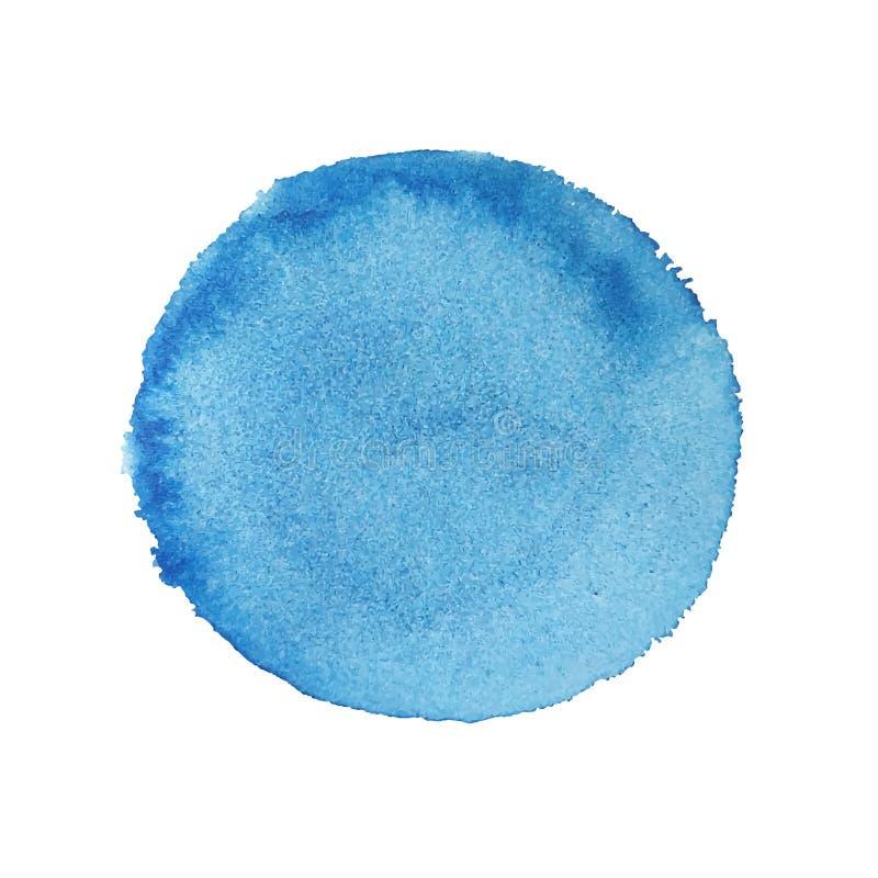 A m?o abstrata da aquarela pinta o fundo redondo azul ilustração royalty free