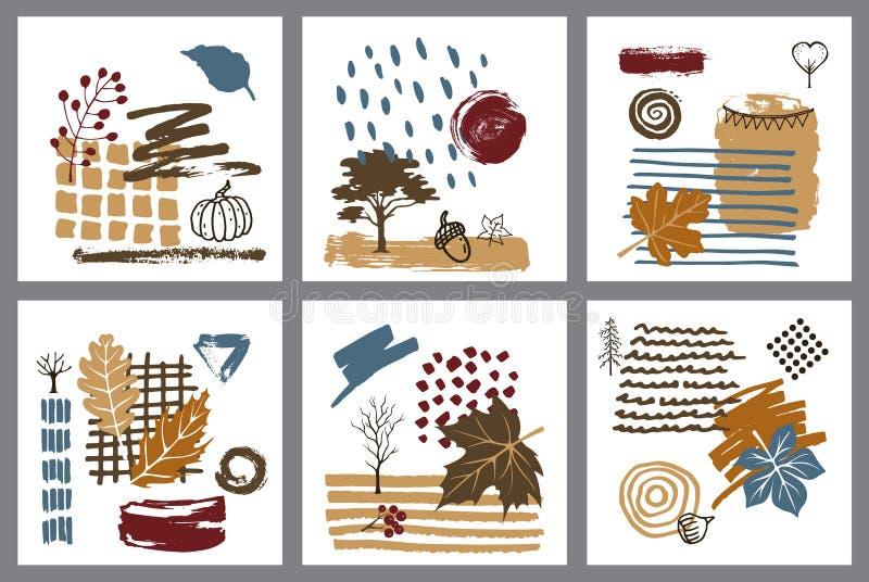 A mão abstrata da queda do outono do estilo da arte moderna tirada textured cartões ilustração stock