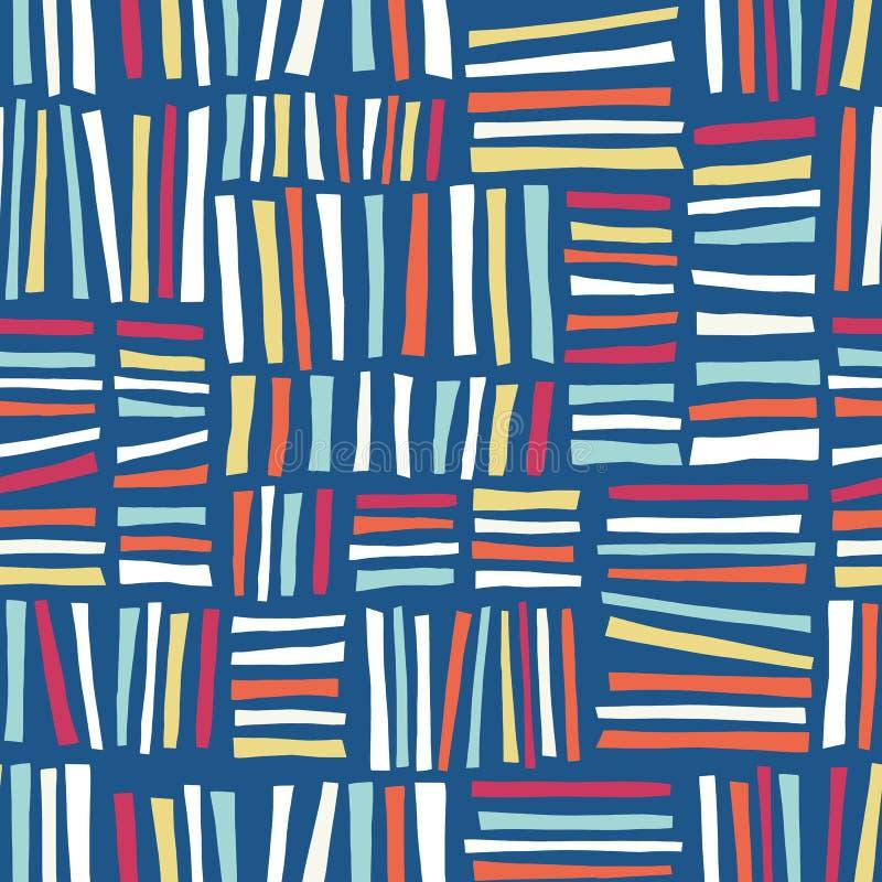 Mão abstrata do rosa sem emenda do fundo do vetor dos blocos laranja amarela azul branca tirada ilustração do vetor
