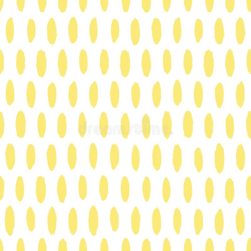 Mão abstrata a escova vertical colorida tirada toca no teste padrão sem emenda do vetor branco e amarelo ilustração royalty free