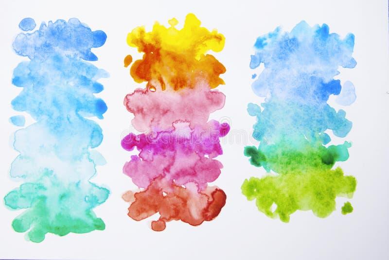 Mão abstrata fundo tirado da aquarela, ilustração Textura colorida com espaço da cópia imagens de stock