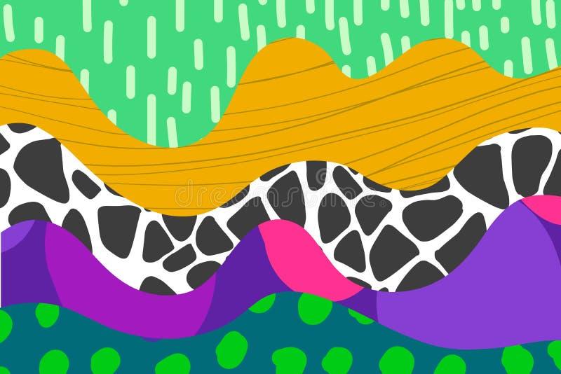 Mão abstrata ilustração tirada do fundo no céu violeta cor-de-rosa alaranjado verde azul da chuva das cores vibrantes ilustração royalty free