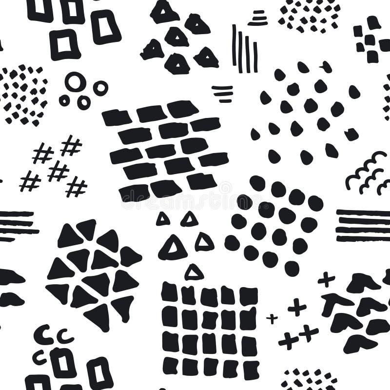 Mão abstrata preto e branco as formas diferentes tiradas escovam cursos e o teste padrão sem emenda das texturas ilustração do vetor