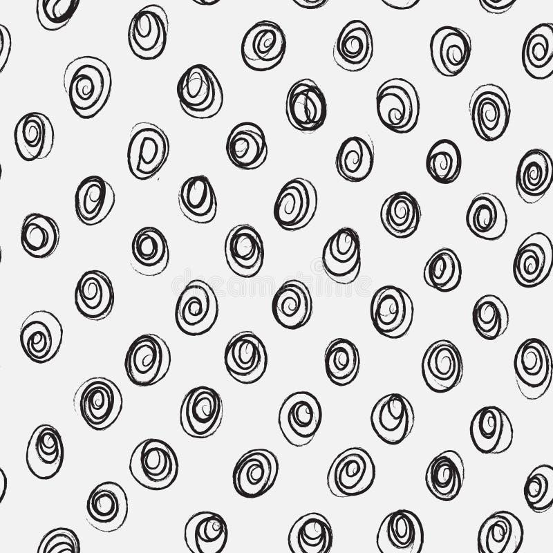 Mão abstrata teste padrão sem emenda tirado da garatuja Cores preto e branco ilustração stock