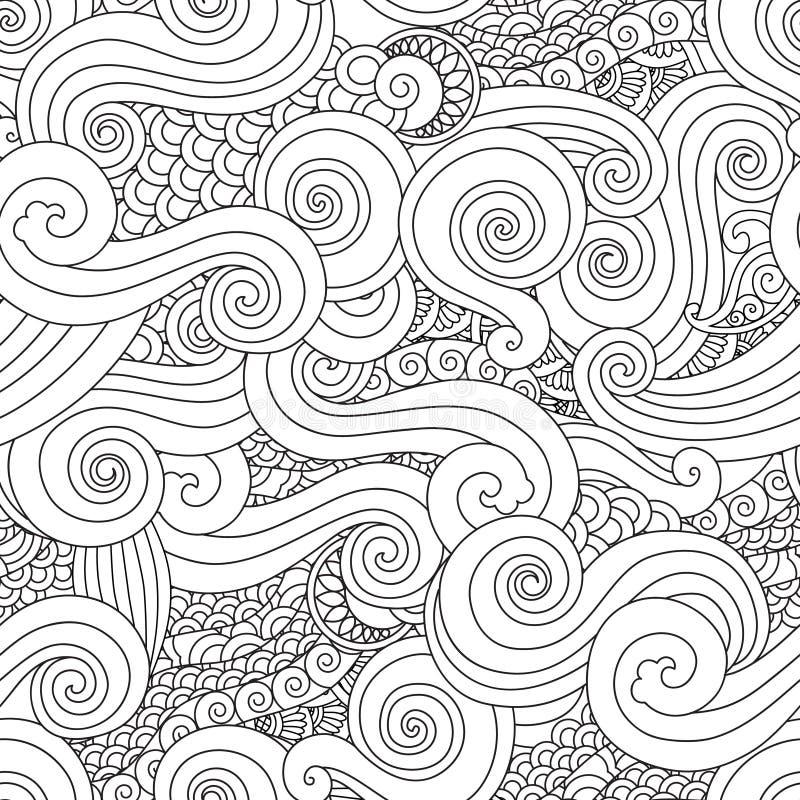 Mão abstrata teste padrão sem emenda tirado da onda da onda do esboço no estilo asiático do leste isolado no fundo branco ilustração do vetor