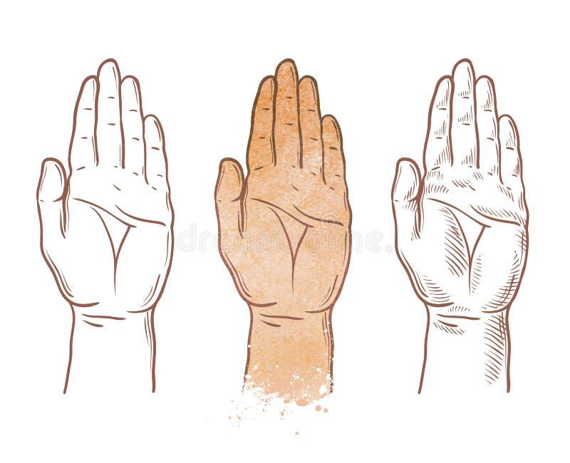 Mão acima do logotipo do vetor quiromancia, quiromancia ou ícone da palma ilustração do vetor