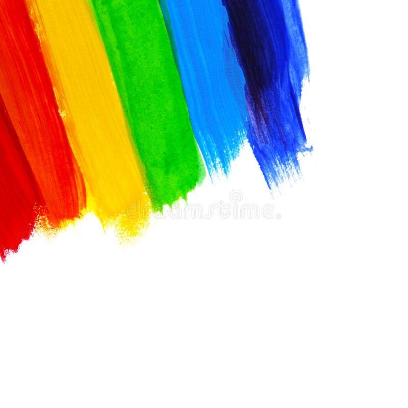 Mão acrílica abstrata fundo pintado Bandeira do arco-íris da aquarela Símbolo do lgbt, da paz e do orgulho ilustração royalty free