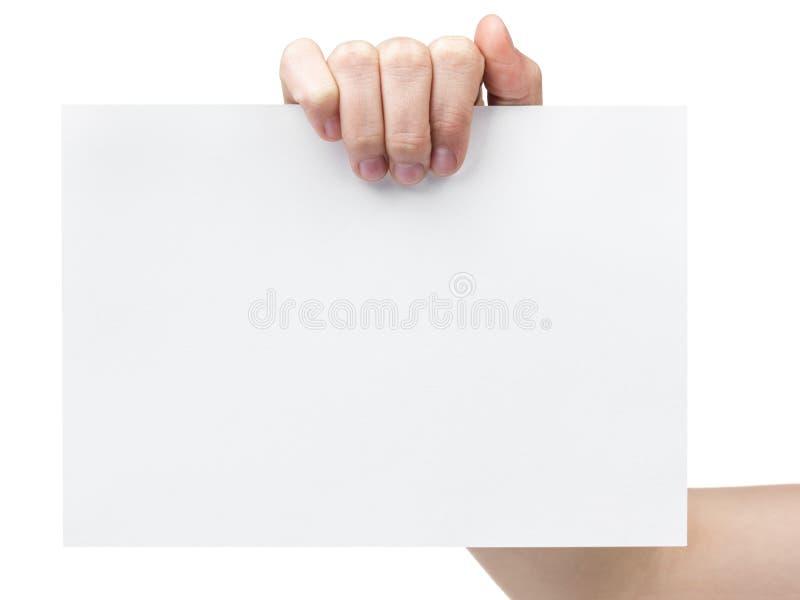 Mão adolescente fêmea que guardara a folha do grande papel imagem de stock royalty free