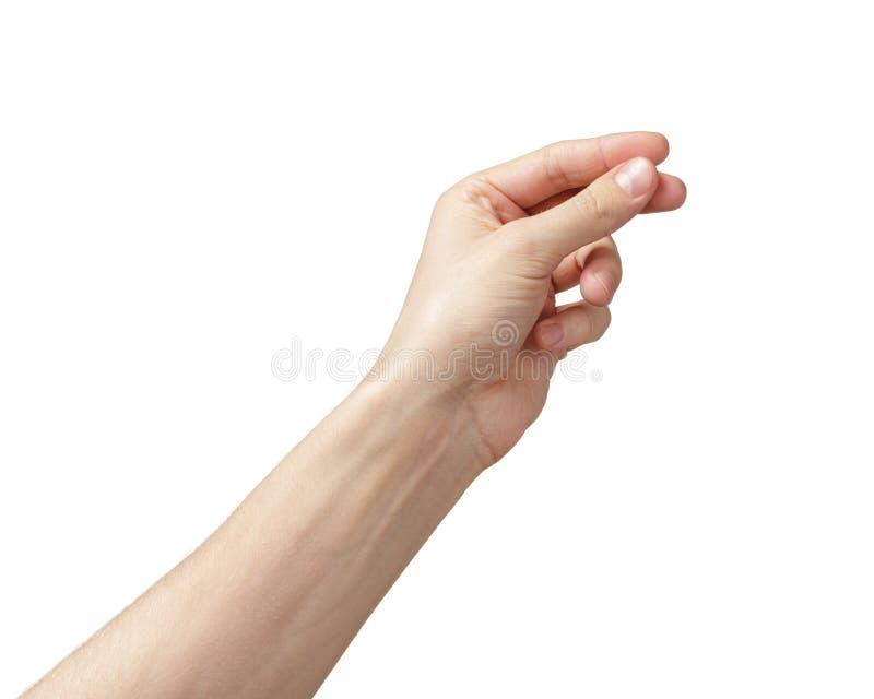 Mão adulta do homem para guardar algo fotos de stock royalty free