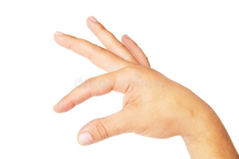 Mão adulta do homem para manter algo isolado no branco imagem de stock