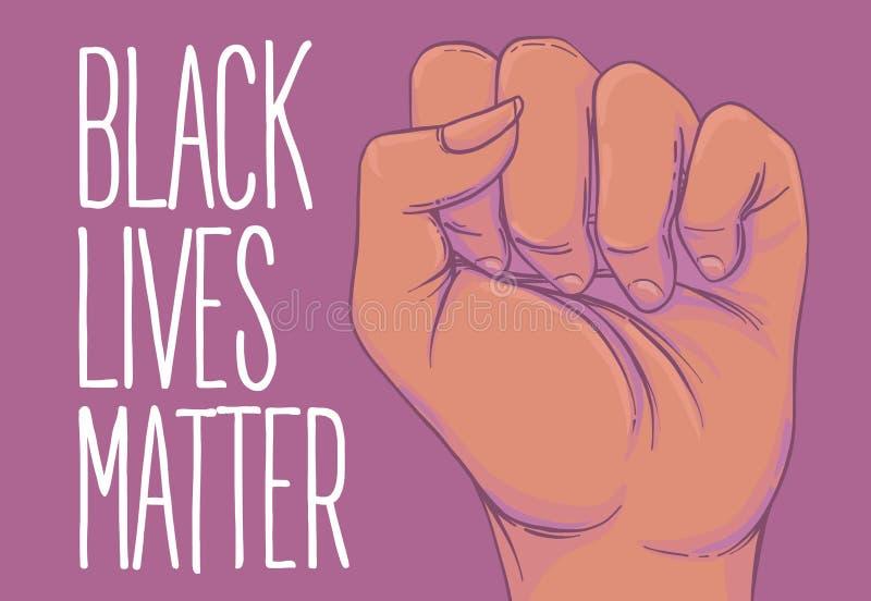 A mão afro-americano da mulher com seu punho aumentado acima Menina Powe ilustração royalty free