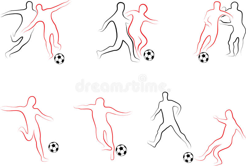 Grupo do futebol dos jogadores ilustração royalty free