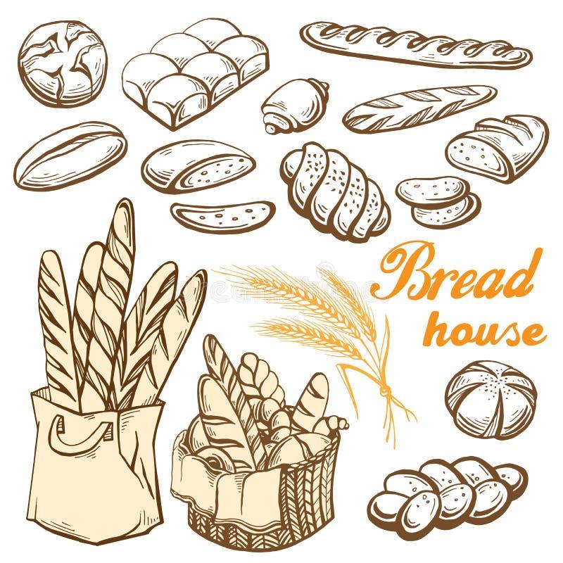 Mão ajustada do pão tirada ilustração do vetor