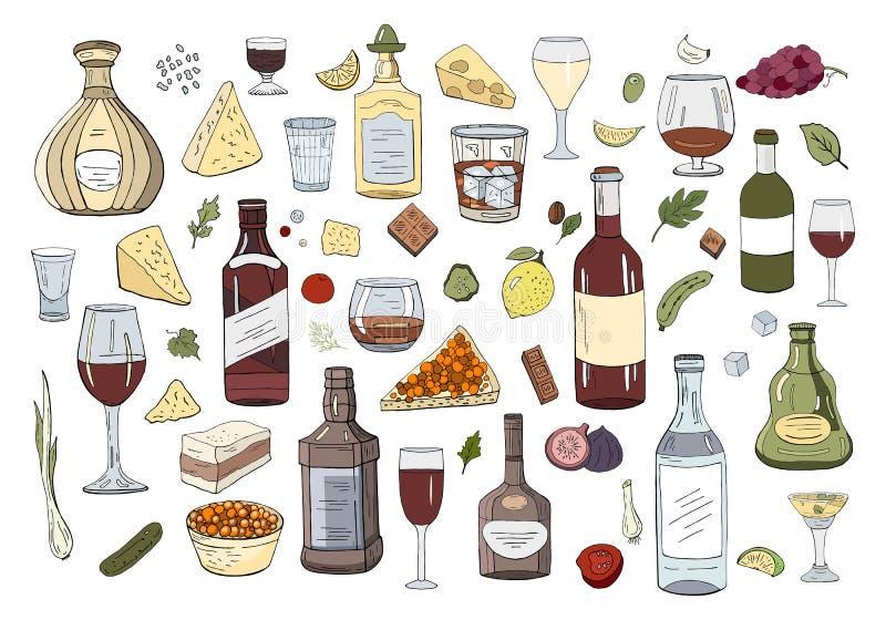 Mão ajustada grande bebidas tiradas e vidros do álcool isolados ilustração royalty free