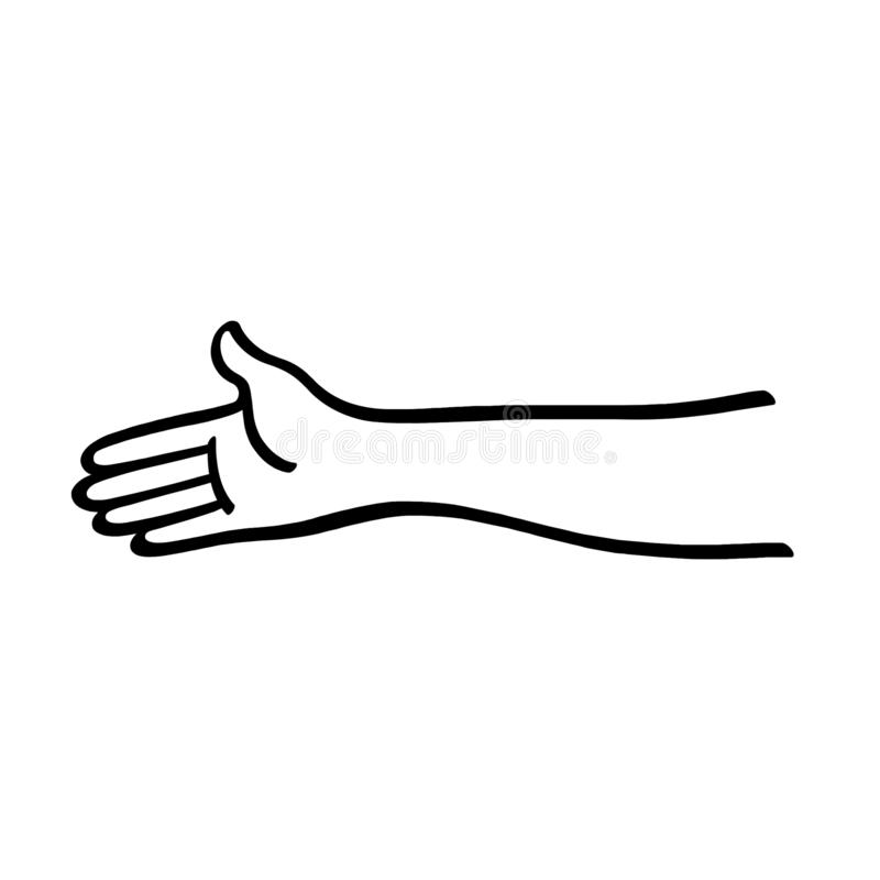 A mão alcança para fora para agitar a ilustração do esboço ilustração stock