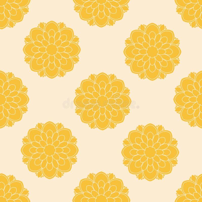 Mão amarela teste padrão sem emenda floral tirado Fundo abstrato com flores, mandalas ilustração stock