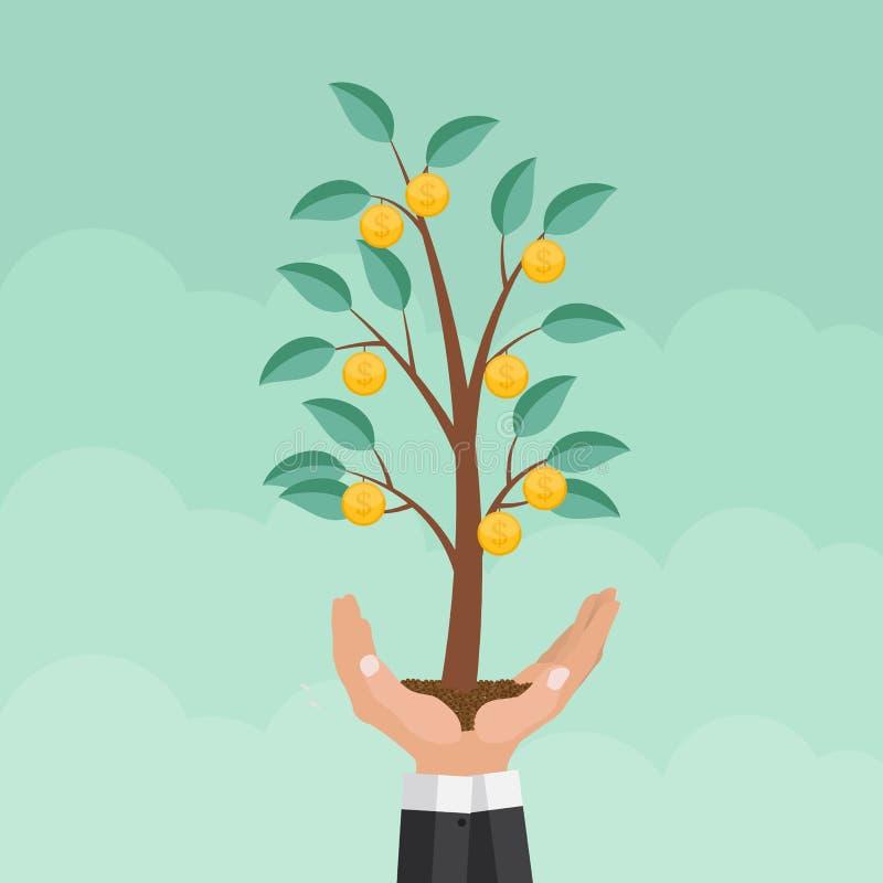 Mão amiga Árvore do dinheiro, vetor liso do conceito do crescimento financeiro mim ilustração stock