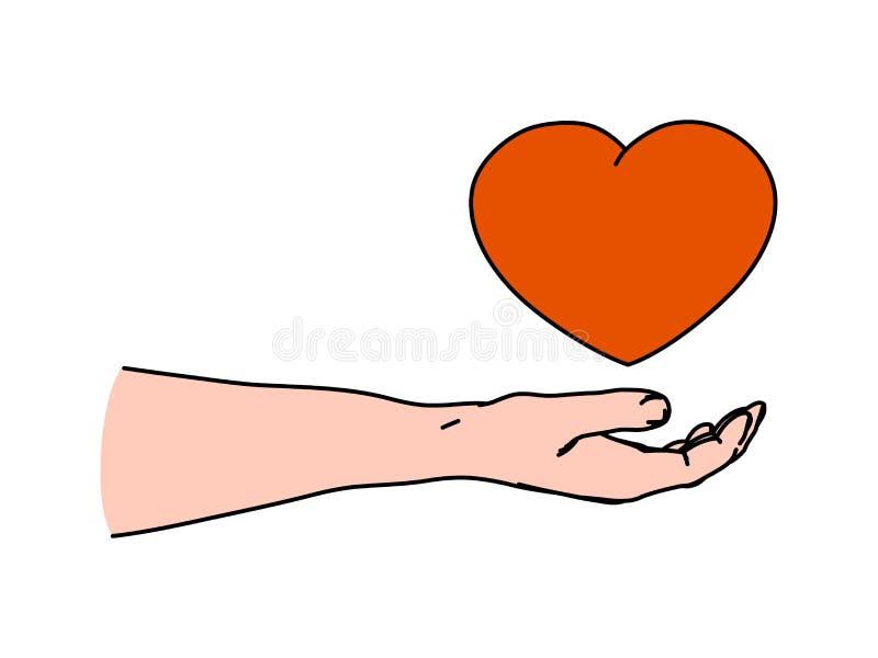 Mão amiga humana que guarda a forma do coração como gesticular de dar o amor e o cuidado ilustração do vetor