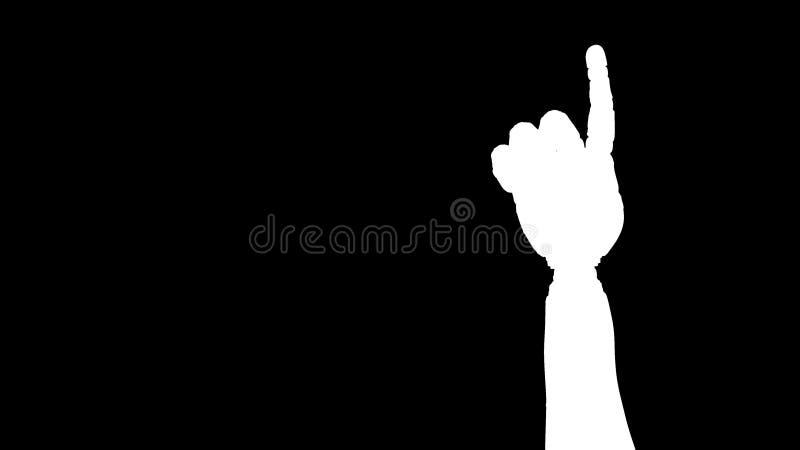 Mão animado do robô que conta 1 dedo Assistente Alpha Channel ilustração do vetor