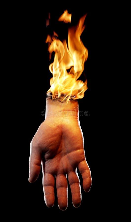 Mão ardente fotos de stock