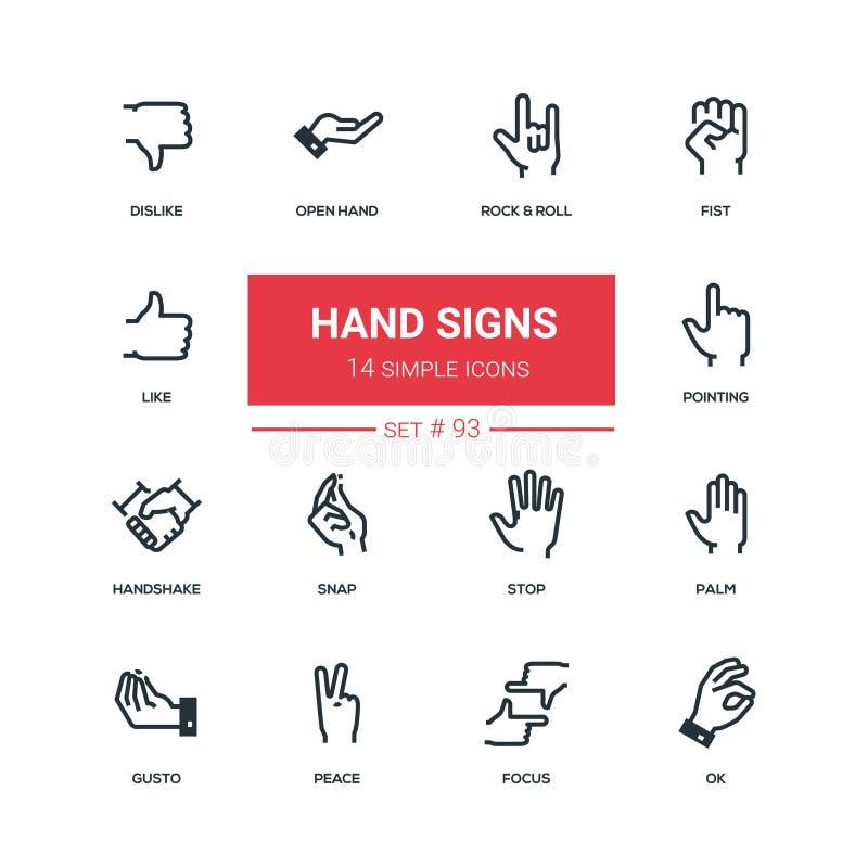 A mão assina - os ícones lisos do estilo do projeto ajustados ilustração do vetor