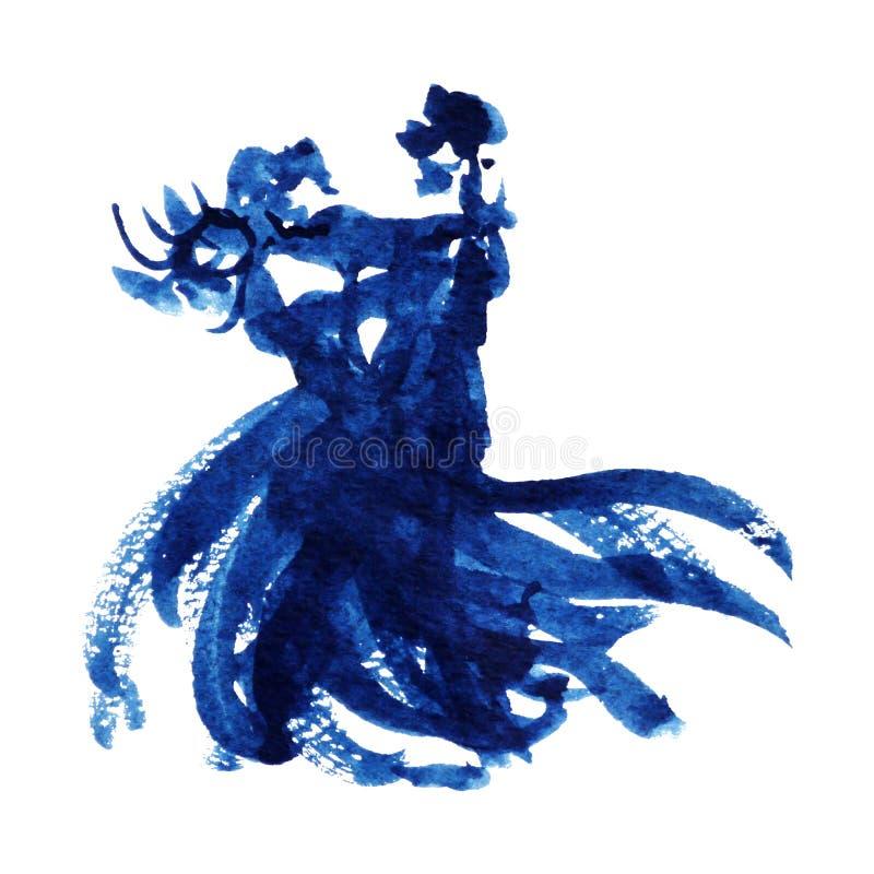 Mão azul do projeto da ilustração da pintura da aquarela do amante da dança dos pares tirada ilustração royalty free