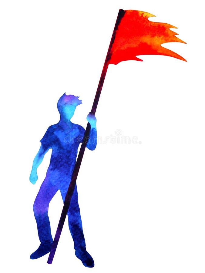 Mão azul humana do corpo acima da pose com bandeira vermelha, ilustração abstrata do desenho da mão da pintura da aquarela ilustração stock