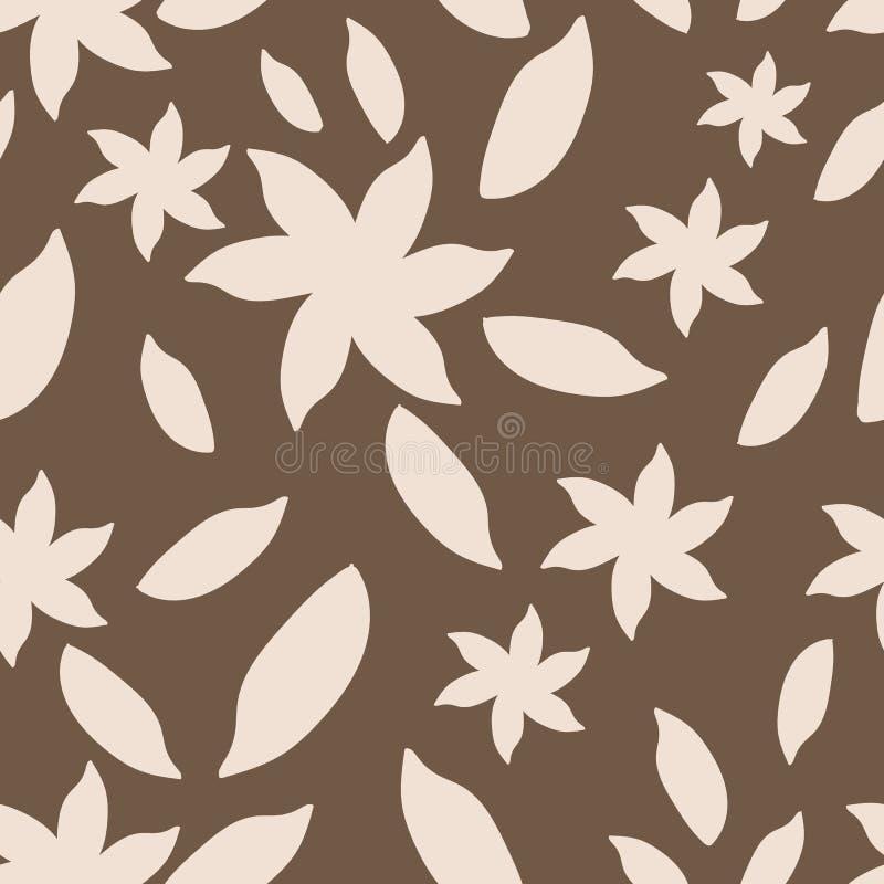 Mão bege e marrom teste padrão sem emenda tirado das flores do sumário ilustração royalty free