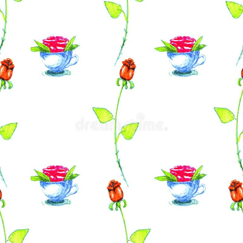 Mão bonita copos e rosas tirados coloridos dos marcadores no teste padrão branco do fundo ilustração stock