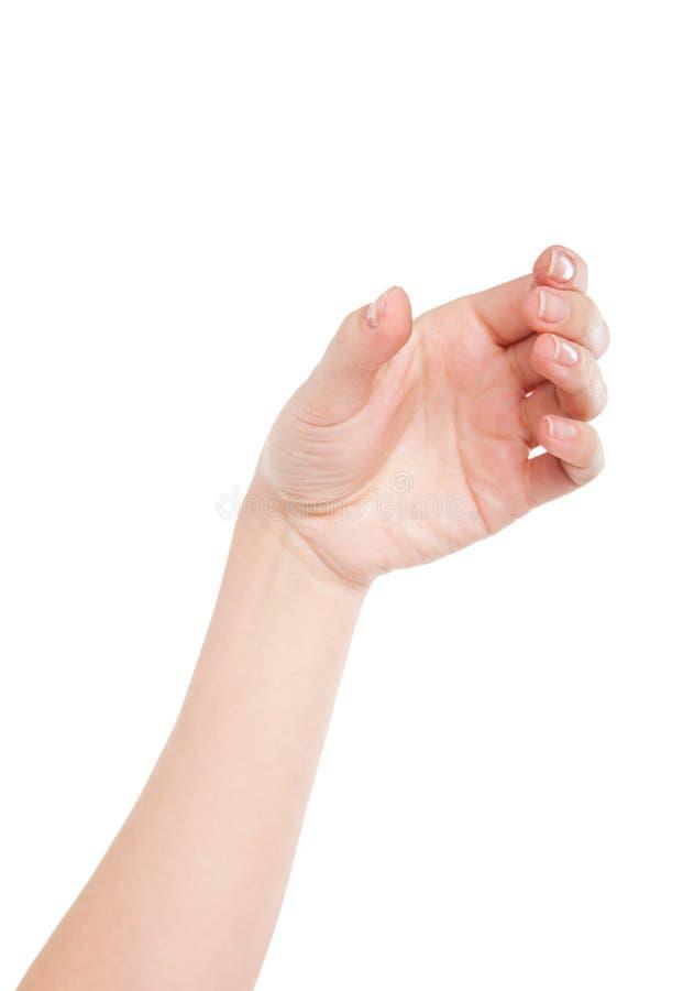 Mão bonita da mulher que guarda o vidro invisível imagem de stock royalty free