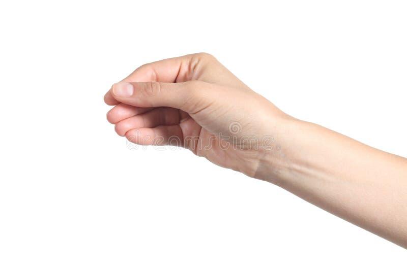 A mão bonita da mulher que mostra algo gosta de um negócio vazio imagens de stock royalty free