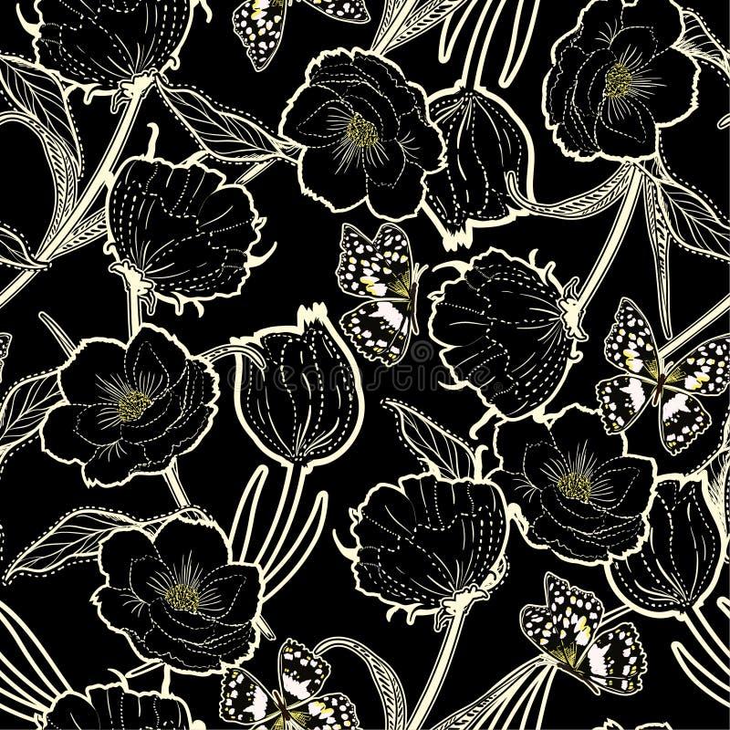 A mão bonita do esboço tirada graden no flo botânico do traço escuro ilustração royalty free